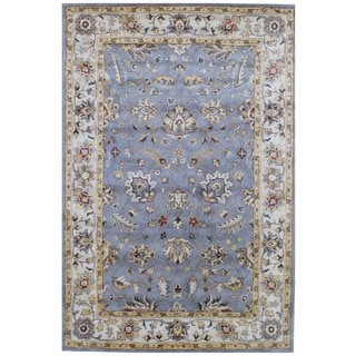 Indo Hand-tufted Gray/ Ivory Wool Rug (6' x 9')