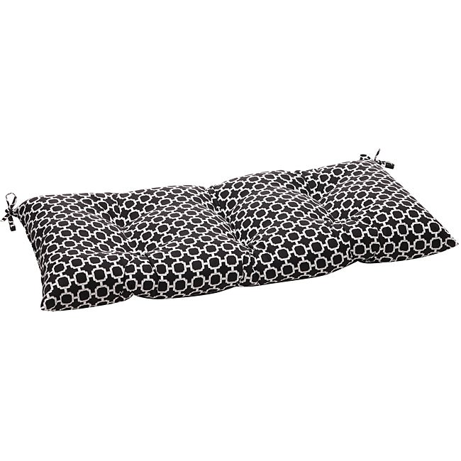Pillow Perfect Outdoor Black/ White Geometric Tufted Loveseat Cushion