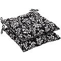 Pillow Perfect Outdoor Black/ White Floral Tufted Seat Cushion (Set of 2)