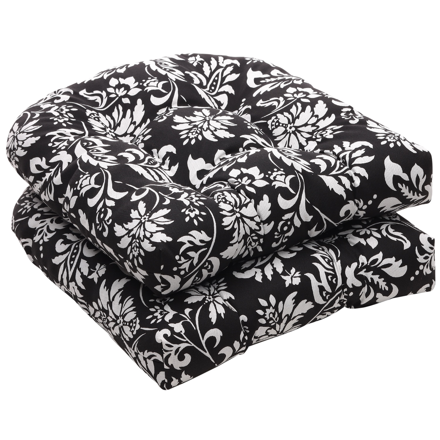 Patio Furniture Cushions White: Pillow Perfect Outdoor Black/ White Floral Wicker Seat