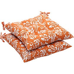 Pillow Perfect Outdoor Tufted Orange/ White Floral Seat Cushion (Set of 2)