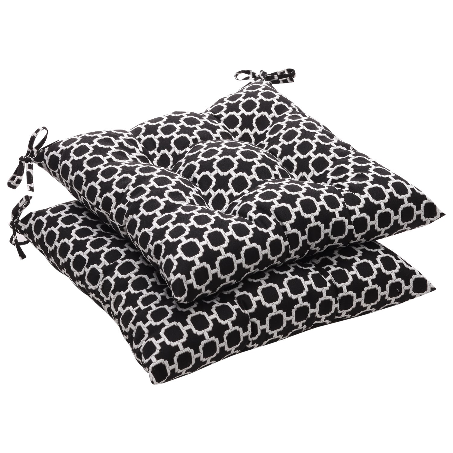 Patio Furniture Cushions White: Pillow Perfect Outdoor Tufted Black/ White Geometric Seat