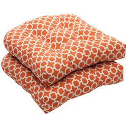 Pillow Perfect Outdoor Geometric Orange/ White Wicker Seat Cushions (Set of 2)