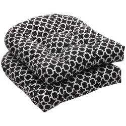 Pillow Perfect Outdoor Geometric Black/ White Wicker Seat Cushions (Set of 2)