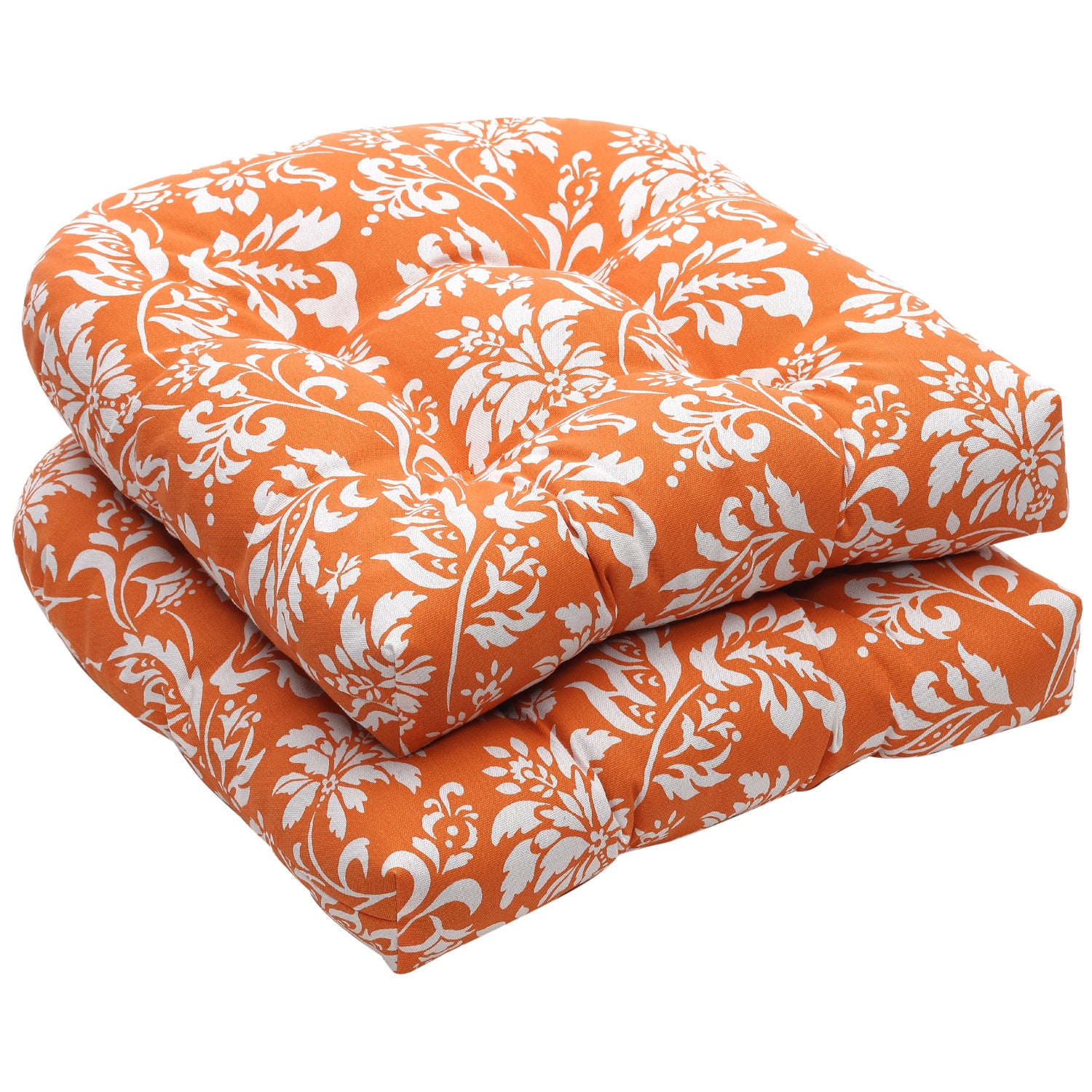 Pillow Perfect Outdoor Floral Orange/ White Wicker Seat Cushions (Set of 2)