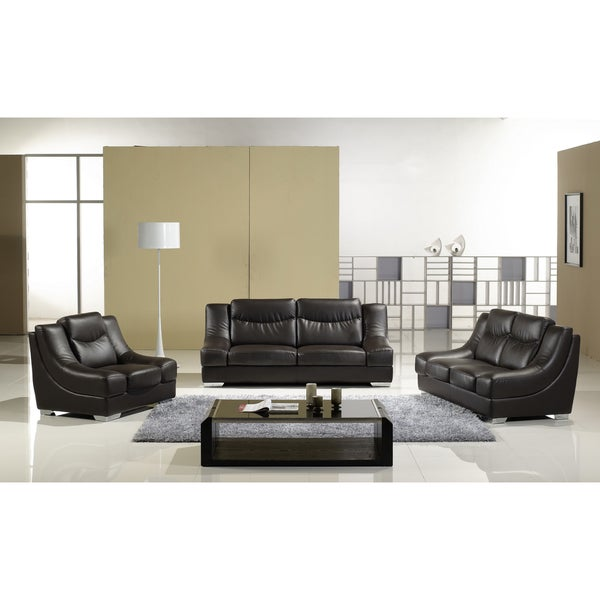 Furniture of America Essen Dark Chocolate 3-peice Sofa Set
