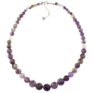 Pearlz Ocean Sterling Silver Amethyst Bead Journey Necklace