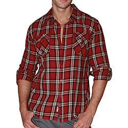 191 Unlimited Men's Red Plaid Flannel Shirt