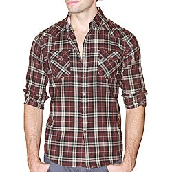 191 Unlimited Men's Brown Plaid Flannel Shirt