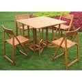 International Caravan Royal Tahiti 'Galveston' 5-piece Stowaway Outdoor Dining Set