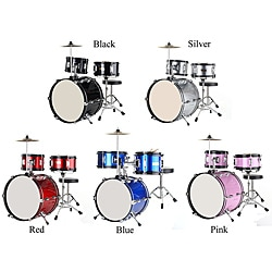 Junior 3-Piece Complete Drum Set With Cymbal, Pedal, Throne, and Sticks