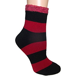 Women's Black/ Red Shea Butter Double Layer Socks