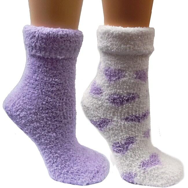 Women's Lavender-Infused Purple Chenille Socks (Pack of 2)