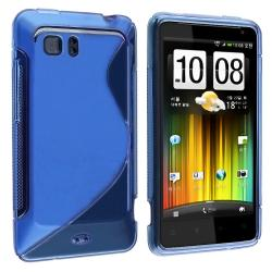 Frost Blue S Shape TPU Rubber Skin Case for HTC Holiday/ Vivid