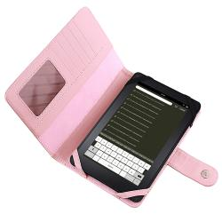 Pink Faux-leather Magnetic-flap Folding Case for Amazon Kindle Fire