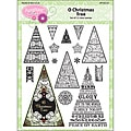 JustRite Christmas Tree Clear Stamp Set (15-pieces)