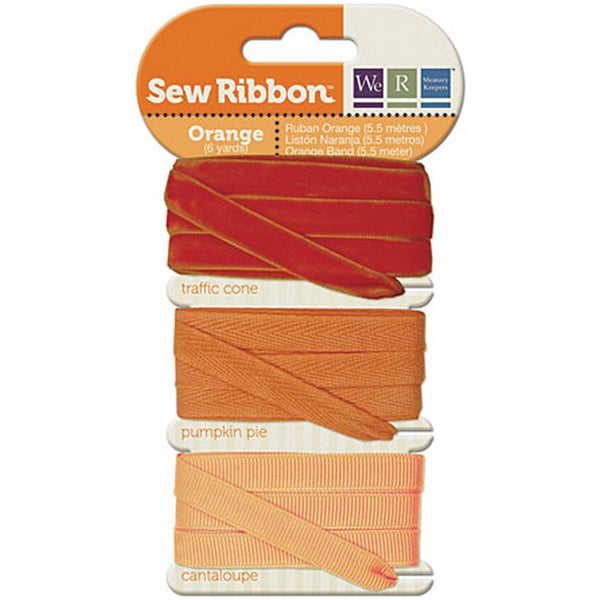 Sew Ribbon Orange Fabric Ribbon (Two Yards Each - Pack of Three)