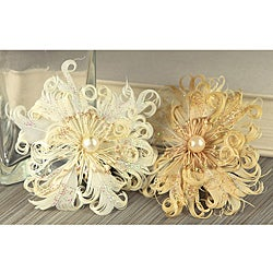 Le Coque 'Pearl' Feather Flowers With Pearl (Pack of 2)