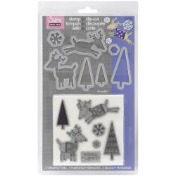 Sizzix Framelits Reindeer Dies with Clear Stamps