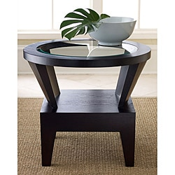 Abbyson Living Morgan Round Glass Espresso End Table