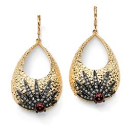 PalmBeach Crystal Hammered-Style Sunburst Drop Earrings in Yellow Gold Tone and Black Rhodium-Plated Bold Fashion