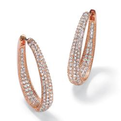 PalmBeach Rose Goldplated Cubic Zirconia Hoop Earrings Glam CZ