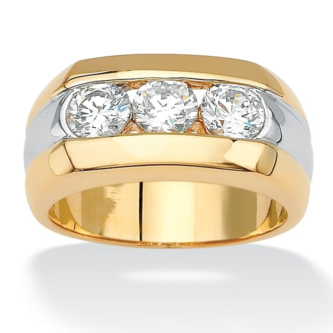 PalmBeach Men's 1.50 TCW Round Channel-Set Cubic Zirconia Triple-Stone Two-Tone Ring 14k Yellow Gold-Plated