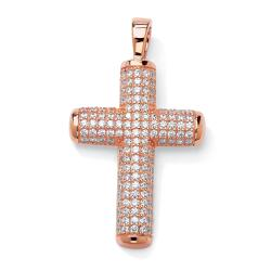 Isabella Collection Rose Goldplated Cubic Zirconia Cross Pendant