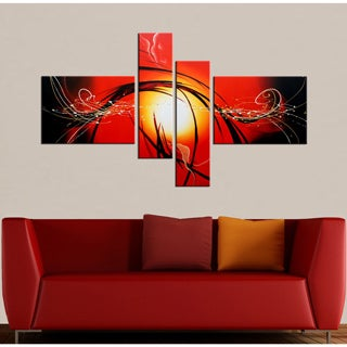 Hand-painted 'Raising Hope' 4-piece Gallery-wrapped Canvas Art Set