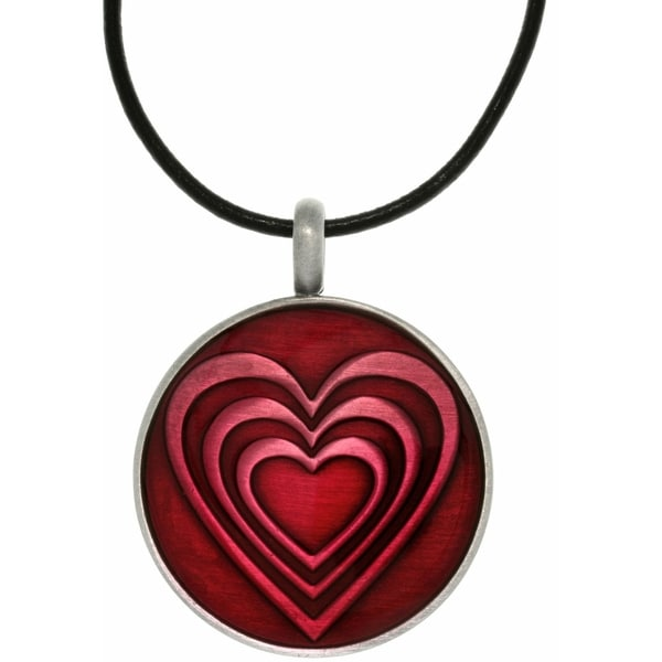 Pewter Glossy Red Epoxy Heart Necklace 8901385