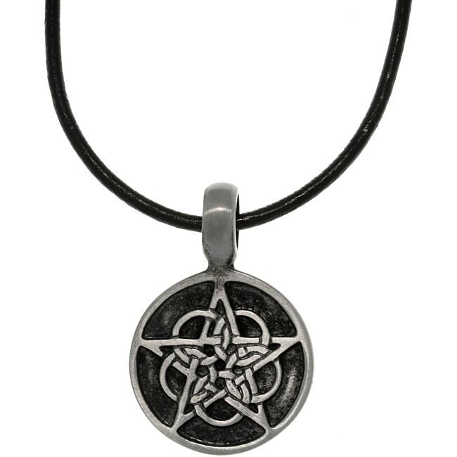 CGC Pewter Unisex Black Enamel Celtic Star Necklace