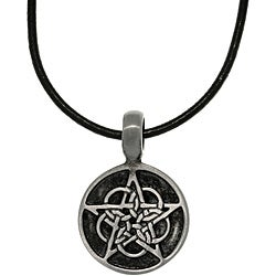 Carolina Glamour Collection Pewter Unisex Black Enamel Celtic Star Necklace