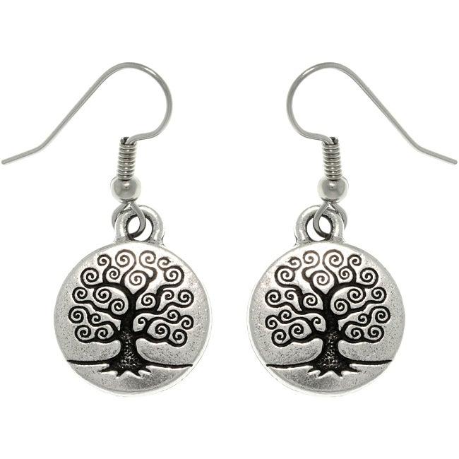 CGC Antiqued Silver-plated Pewter Celtic 'Tree Of Life' Dangle Earrings