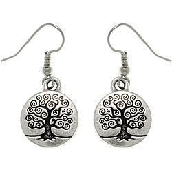 Carolina Glamour Collection Antiqued Silver-plated Pewter Celtic 'Tree Of Life' Dangle Earrings