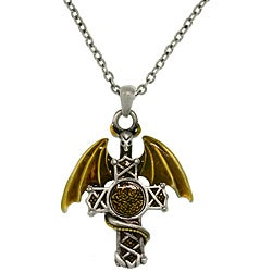 Carolina Glamour Collection Pewter Men's Warrior Dragon Celtic Cross Necklace
