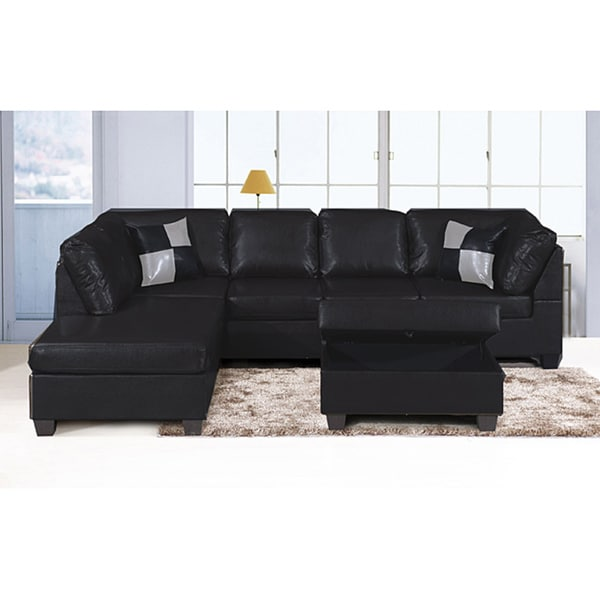 Jingo Faux Black Leather 3 Piece Sectional Overstock