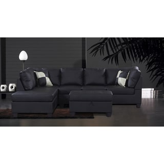 Jingo Faux Black Leather 3-piece Sectional