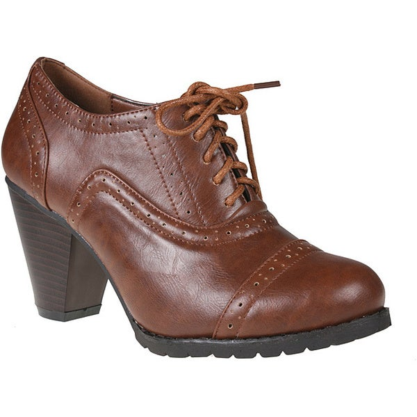 Refresh Women's 'yoyo-01' Rust Oxford Ankle Booties