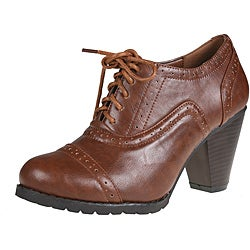 Refresh Women's 'yoyo-01' Rust Oxford Ankle Booties