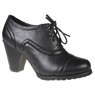 Refresh Women's 'yoyo-01' Black Heeled Oxfords