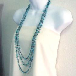 Blue Reconstructed Turquoise Triple Strand Long Necklace (Thailand)