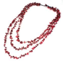 Red Coral Triple Strand Long Necklace (Thailand)
