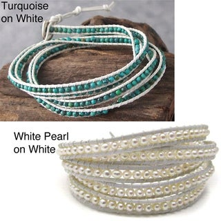Solstice Malachite White Leather Wrap Bracelet (Thailand)
