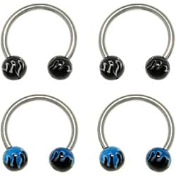 CGC Stainless Steel Acrylic Flame Ball Circular Horseshoe Barbells (Set of 2)