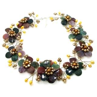 Sublime Floral Multicolor Jasper-Gold Pearl Necklace (Thailand)