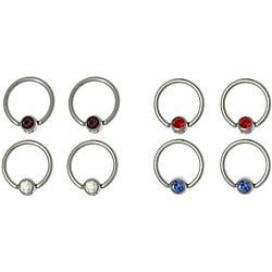 CGC 316L Stainless Steel High Polish Gem Ball Captive Rings (Set of 4 pairs)