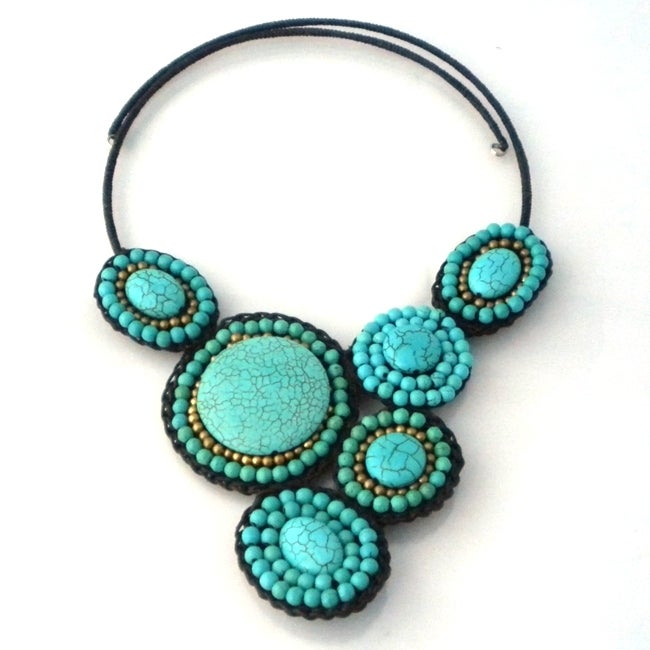 Mosaic Charm Round Turquoise- Brass Beads Cotton Rope Choker (Thailand)