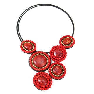 Mosaic Charm Red Coral- Brass Beads Cotton Rope Choker (Thailand)
