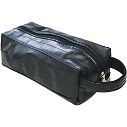 Recycled Black Toiletry Travel Kit with Zipper Closure