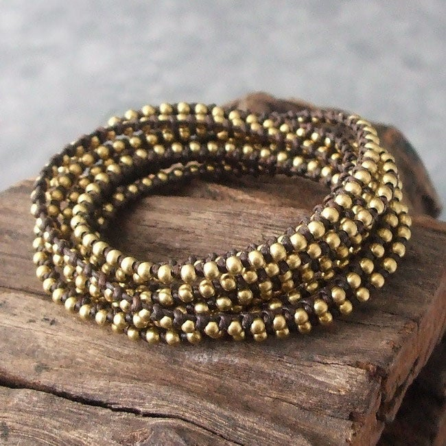 Triple Strand Golden Harmony Round Brass Wrap Bracelet (Thailand)